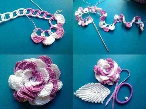 rosas tejidas a crochet paso a paso dos colores
