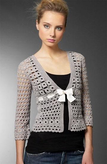 sacos tejidos a crochet para mujer corto