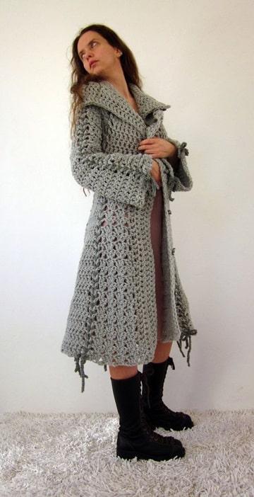 sacos tejidos a crochet para mujer largo