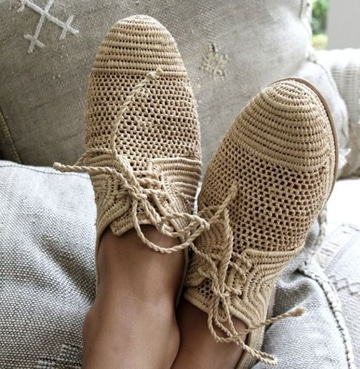 zapatos tejidos a gancho para dama con suela