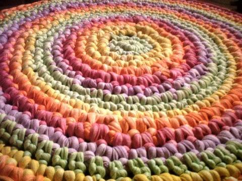 alfombras de totora al crochet redonda