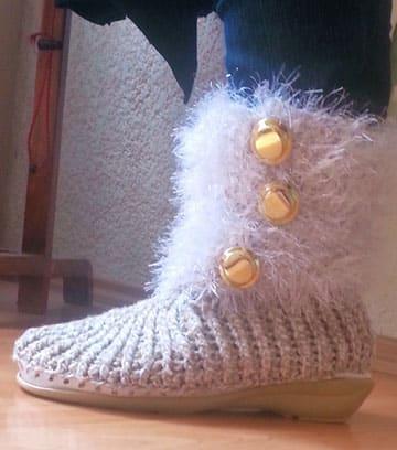 botas tejidas a crochet para niña paso a paso