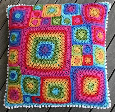 cojines a crochet cuadrados faciles