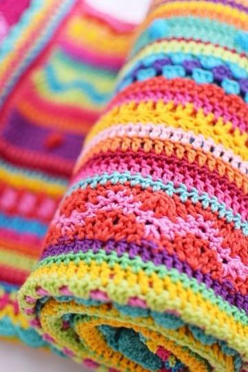 colchas de crochet faciles a colores