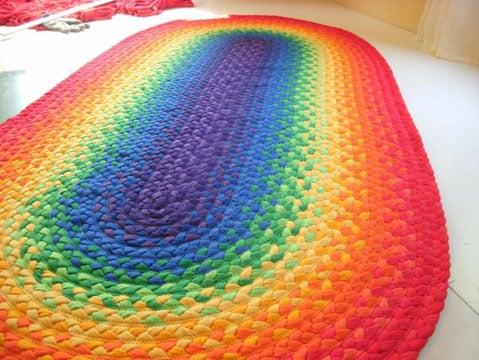 como hacer alfombras con totora colores