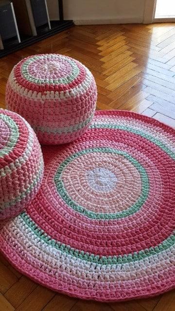 como hacer alfombras de lana a ganchillo