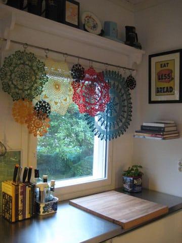 cortinas a crochet para ventanas colores
