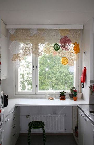 cortinas a crochet para ventanas de cocina