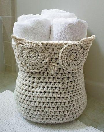 manualidades a crochet para el baño cesta toalla
