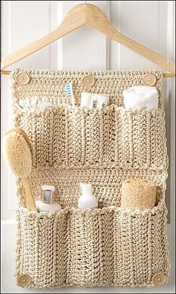 manualidades a crochet para el baño organizador