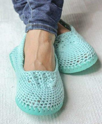 pantuflas tejidas a crochet con suela
