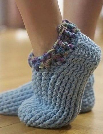 pantuflas tejidas a crochet para mujeres