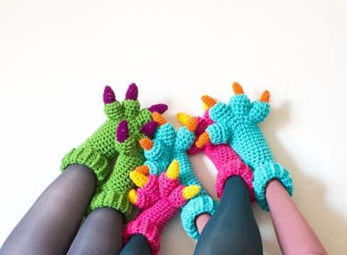 pantuflas tejidas para niños garras