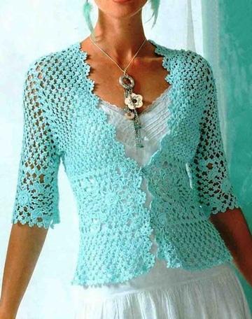 blusones tejidos a crochet escote v