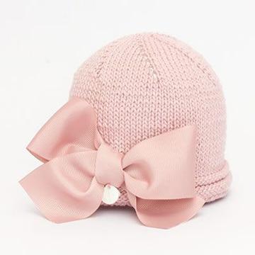 boinas tejidas para niña con lazo