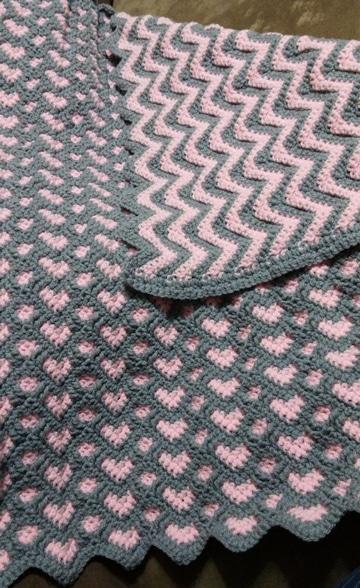 cobijas tejidas a gancho dos colores