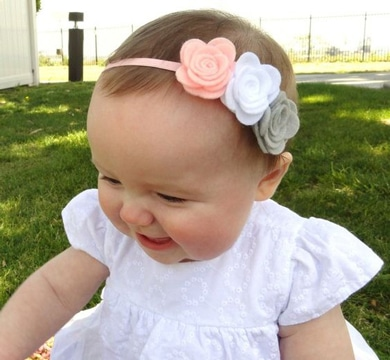 diademas tejidas para bebe con flores