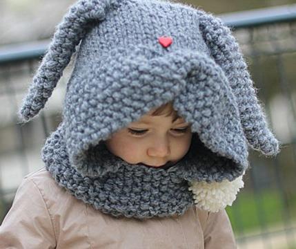 gorros de lana con orejas de conejo