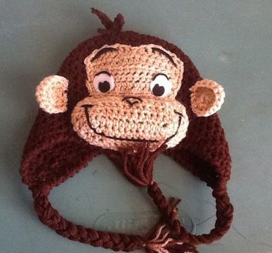 gorros tejidos de animalitos mono
