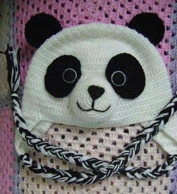 gorros tejidos de animalitos panda