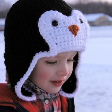 gorros tejidos de animalitos pinguino