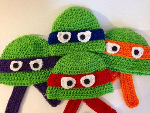 gorros tejidos de personajes tortugas ninja