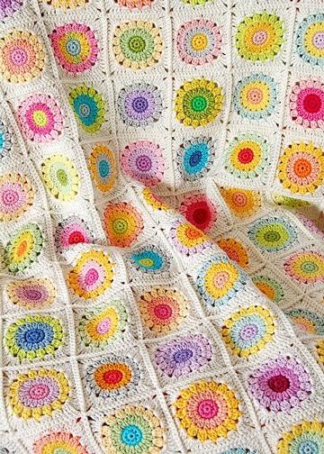 mantas tejidas para bebe de flores