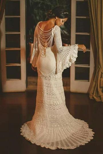 vestidos de novia a crochet con cola