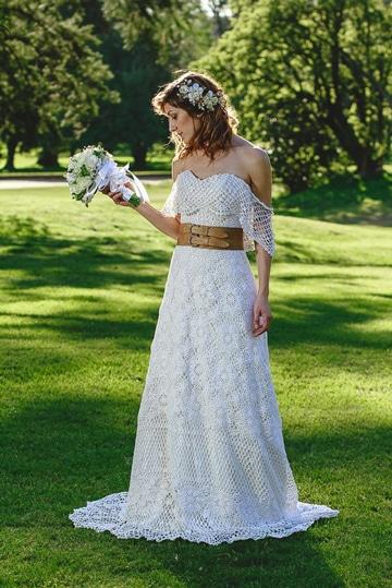 vestidos de novia a crochet largo