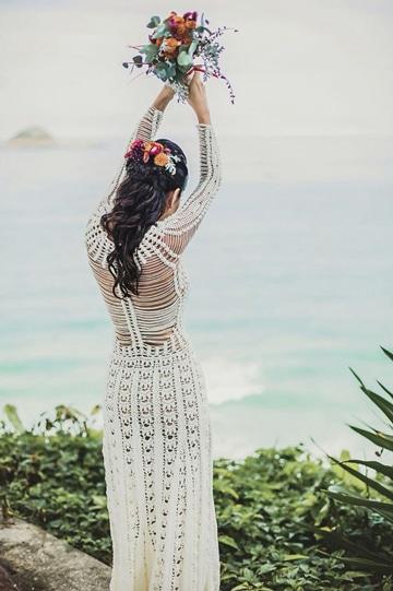 vestidos de novia a crochet playero