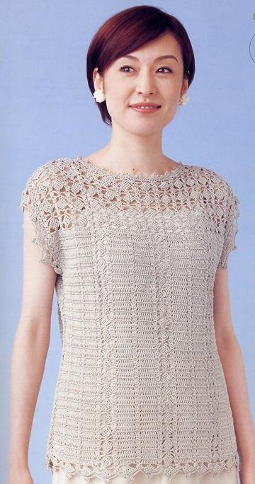 blusas en crochet japonesas para señora