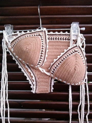 brasier tejido a crochet bikini