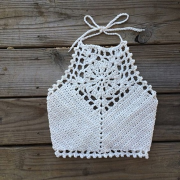brasier tejido a crochet cuello alto