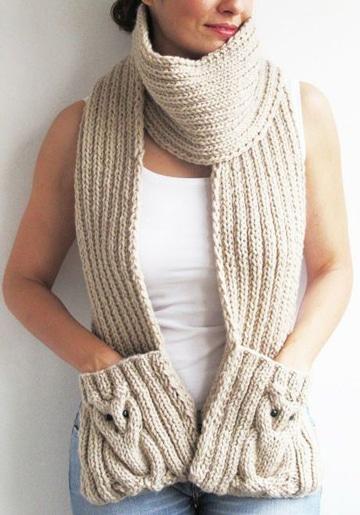 bufandas tejidas a crochet con bolsillo