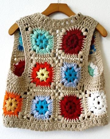 chalecos de hilo a crochet de colores