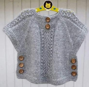 chalecos tejidos para niña con botones