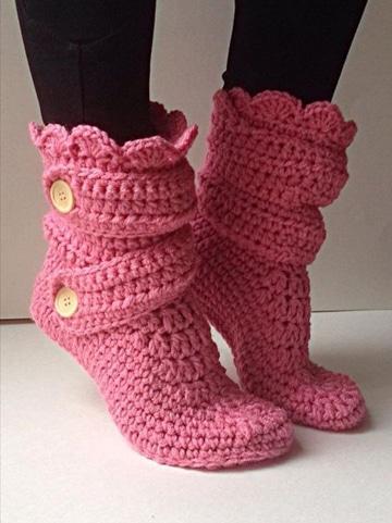 como hacer botas tejidas para dama