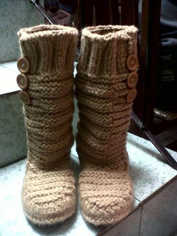 como hacer botas tejidas para invierno