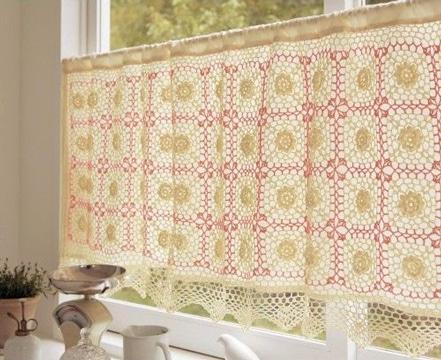 cortinas a crochet para cocina colores claros