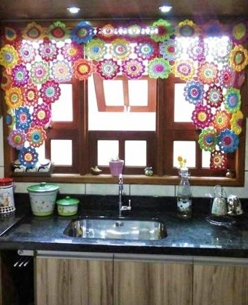 cortinas a crochet para cocina decorativa