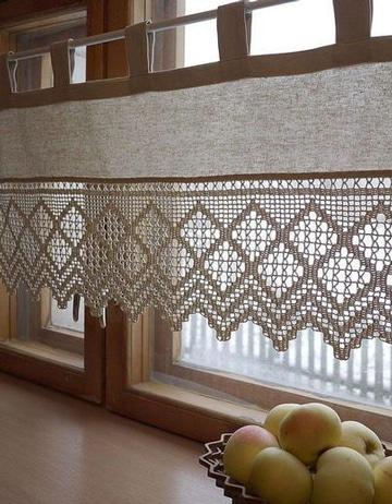 cortinas a crochet para cocina pequeña