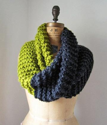 cuellos de lana tejidos a palillo dos colores