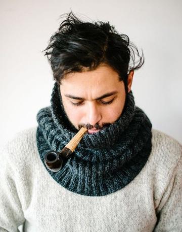 cuellos de lana tejidos a palillo masculina