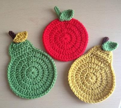 manualidades en crochet para cocina de frutas