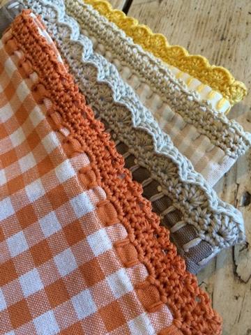 orillas a crochet para manteles de colores
