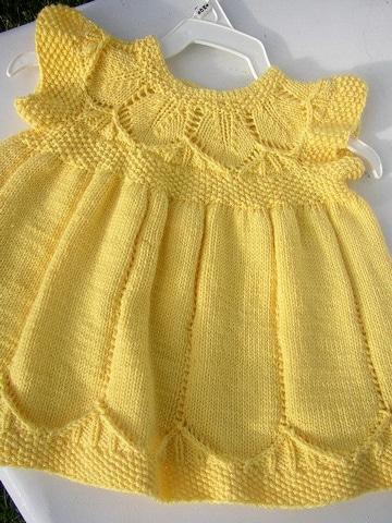 vestidos tejidos para bebe amarillo