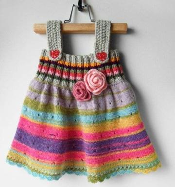 vestidos tejidos para bebe de colores