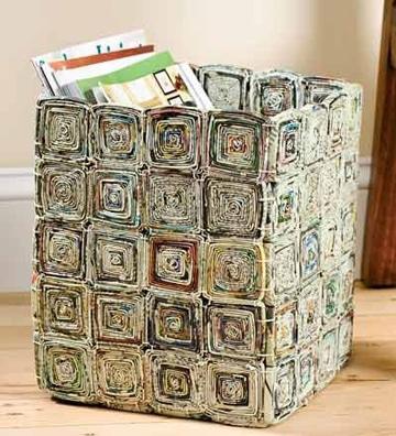 como hacer canastas de papel periodico para revistas
