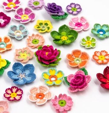 como tejer flores con gancho pequeñas