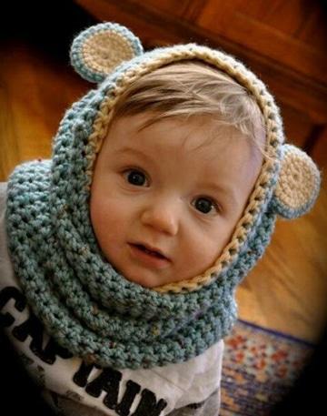 cuellos tejidos para niños con gorro